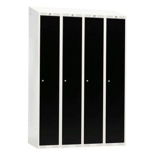 Szafka do przebieralni -4 sekcje 1900x550x1200mm kolor drzwi: czarny marki Aj
