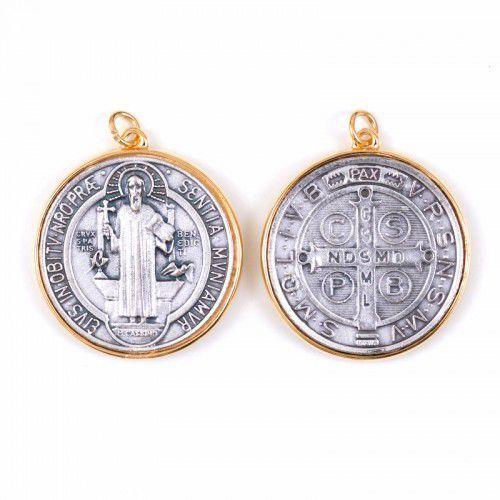 Medal św. benedykta w złotej obramówce 46mm marki Produkt polski