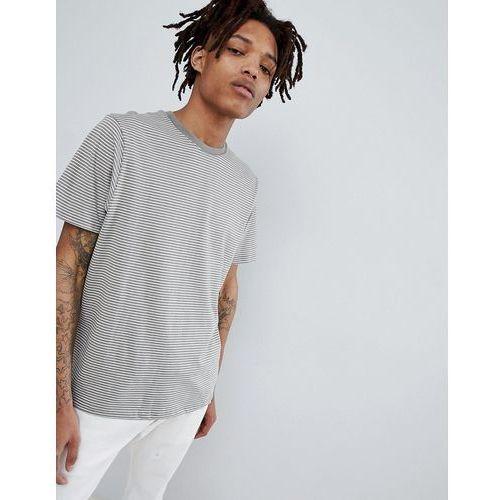 join life organic stripe cotton t-shirt in grey - green marki Pull&bear