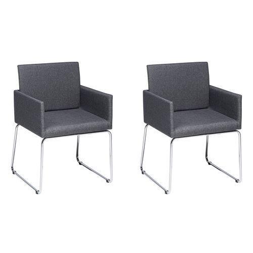 Zestaw do jadalni 2 krzesła ciemnoszare gomez marki Beliani