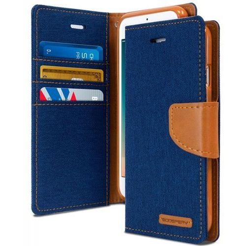 Mercury  canvas diary - etui iphone 6s / iphone 6 z kieszeniami na karty + stand up (granatowy/camel) - szybka wysyłka - 100% zadowolenia. sprawdź już dziś!