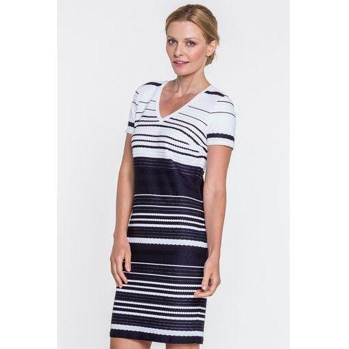 Margo collection Dzianinowa sukienka w paski -