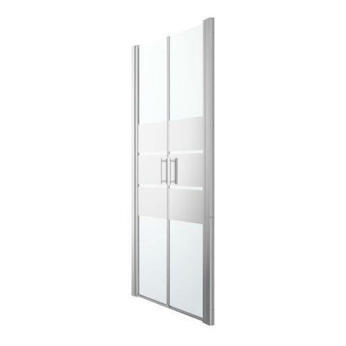 Cooke&lewis Drzwi prysznicowe uchylne podwójne beloya 90 cm chrom/szkło lustrzane