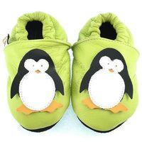 Skórzane kapcie dziecięce penguin - zielony marki Afelo