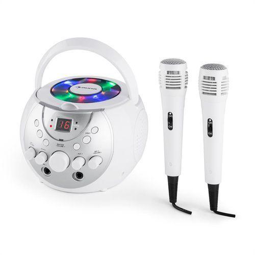 auna SingSing Przenośny zestaw karaoke LED Zasilanie bateryjne 2 x mikrofon kolor biały