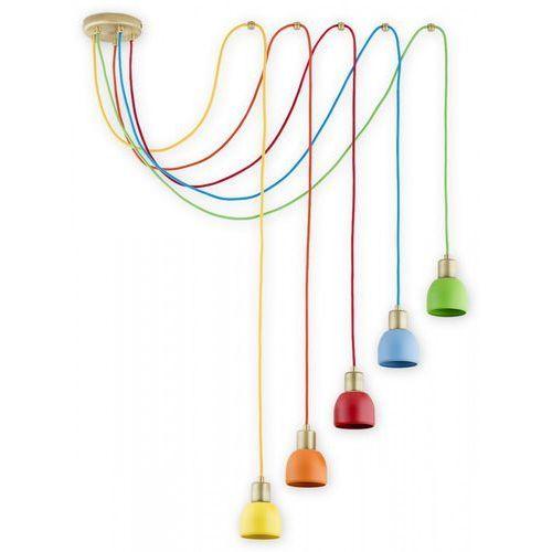 Lemir Piu O2805 W5 PAT + MIX Lampa wisząca zwis 5x60W E27 patyna / wielokolorowy, kolor Złoty