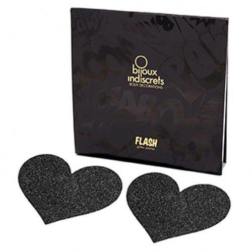 Naklejki na sutki - Bijoux Indiscrets Flash Heart Black Czarne Serce z kategorii Nakładki na sutki