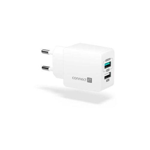 Ładowarka do sieci fast charge 2x usb, 3,4a s funkcí rychlonabíjení (cwc-2015-wh) biały marki Connect it