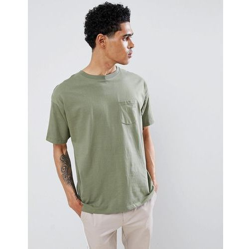 join life t-shirt in khaki with pocket - green, Pull&bear, XS-XL