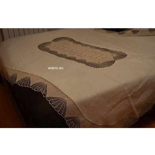 Obrus lniany w kolorze beżowym na stół owalny 198/134 + 12 serwetek marki Twórczyni ludowa