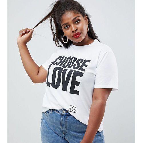 Help refugees choose love curve t-shirt in white organic cotton - white marki Asos curve