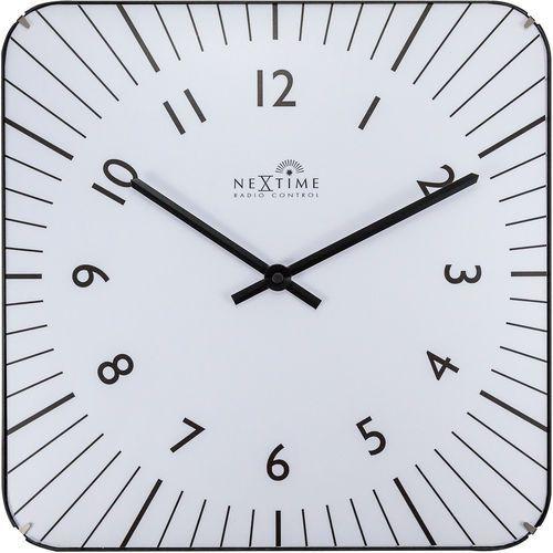 Kwadratowy zegar na ścianę Alex Radio Control Nextime 35 x 35 cm, biały (3240 WI) (8717713021629)