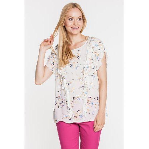 Bluzka w kwiaty ze skośnymi falbanami na przodzie - Duet Woman, kolor beżowy