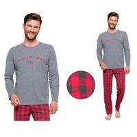 Piżama męska LEO: szary/czerwień, kolor czerwony