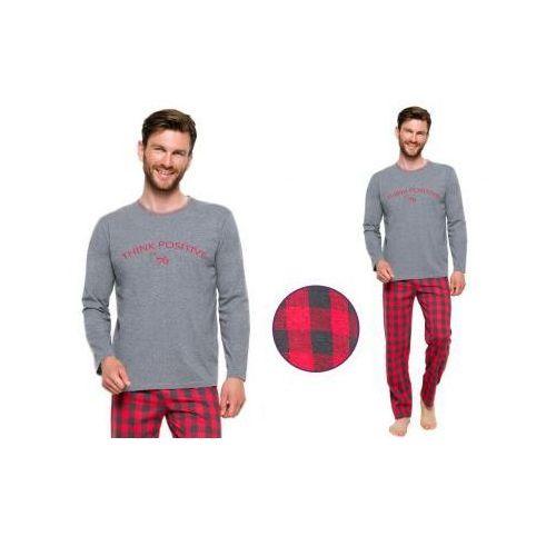Piżama męska leo: szary/czerwień marki Taro