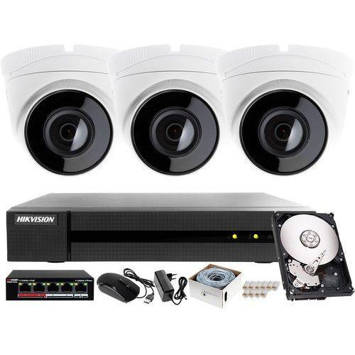 Zestaw do monitoringu sklepu, magazynu, parkingu Hikvision Hiwatch Rejestrator IP HWN-4104MH + 3x Kamera FullHD HWI-T220H + Akcesoria