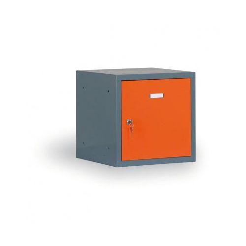 Pojedyńcze schowki 400x400x400 mm, korpus ciemnoszary, drzwi pomarańczowe marki Alfa 3