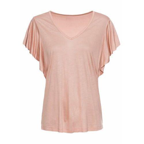 Shirt z rękawami z falbanami bonprix stary jasnoróżowy, kolor różowy