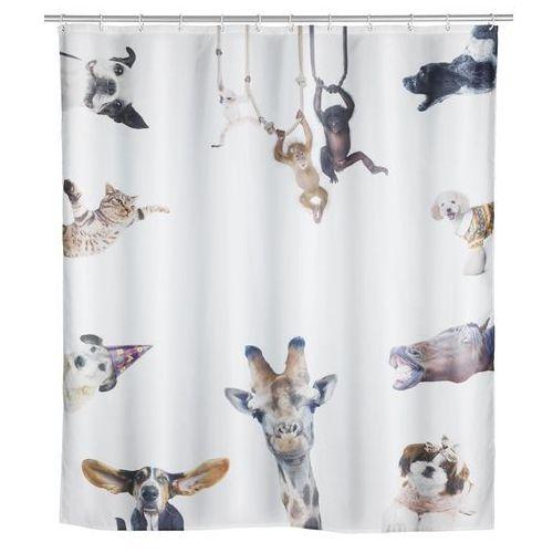 Wenko Poliestrowa zasłonka prysznicowa friends, wodoodporna, grafika, zwierzęta, 12 pierścieni montażowych w zestawie, marka (4008838241547)
