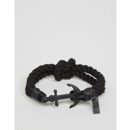 Icon brand anchor woven bracelet in black - black