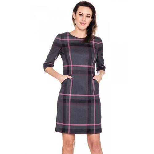 Sukienka w szaro-różową kratkę - Sobora, kolor szary