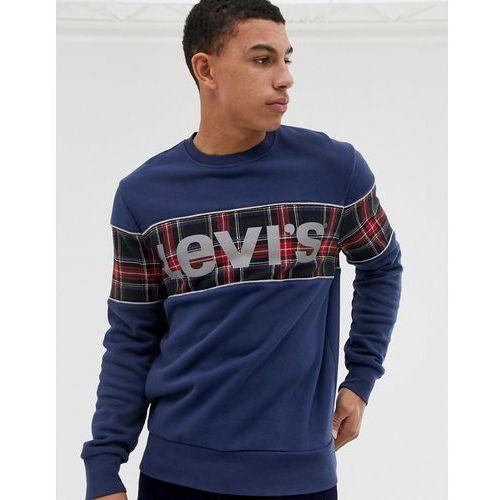 Levi's reflective logo check panel sweatshirt in navy - Navy