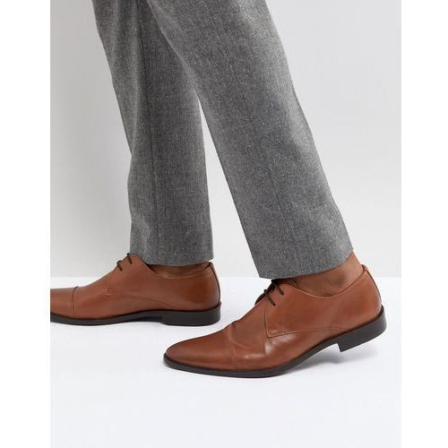 Frank wright toe cap derby shoes in tan leather - tan