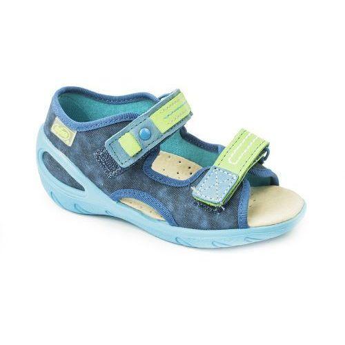 BEFADO Sandałki dziecięce - chłopięce - niebieskie, wkładka ze skóry naturalnej, na rzepy, 451E-64803