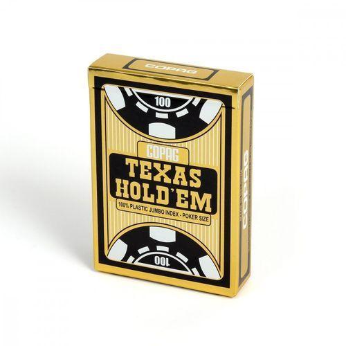 Talia Texas Hold'em 100% plastic jumbo index - czarna - Cartamundi (5411068400551)