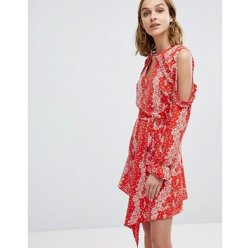 River Island Ruffle Cold Shoulder Detail Floral Print Dress - Red