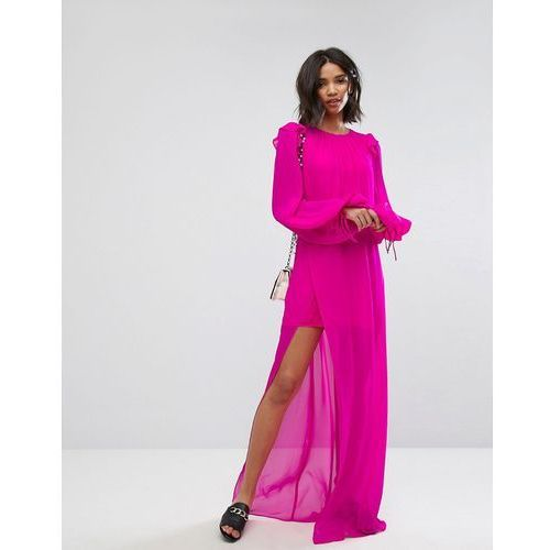 Mango Silk Chiffon Maxi Dress in Bright Pink - Pink