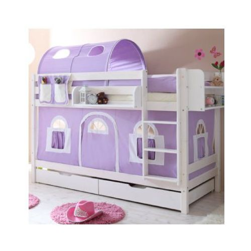 Ticaa kindermöbel Ticaa łóźko piętrowe marcel sosna biel domek - fiolet/biel - bez tunelu (4250393816610)