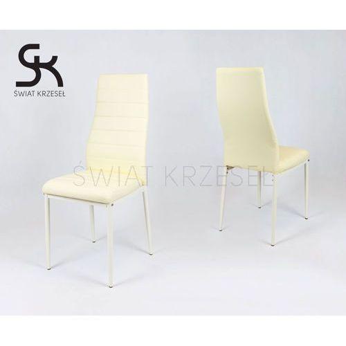 ks001 kremowe krzesło z ekoskóry kremowe nogi - kremowy \ kremowy marki Sk design