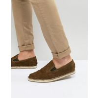 Frank Wright Slip On Espadrilles In Khaki Suede - Green