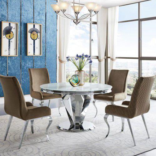 Stół glamour Belmont okrągły - stal szlachetna blat szklany nowoczesny, Belmont/SP2/130