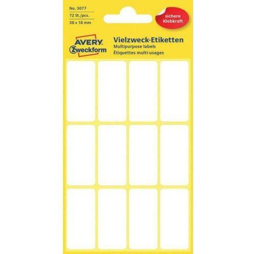 Avery zweckform mini etykiety w arkuszach do opisywania ręcznego, 38 x 18mm, białe, 72 sztuki (4004182030776)