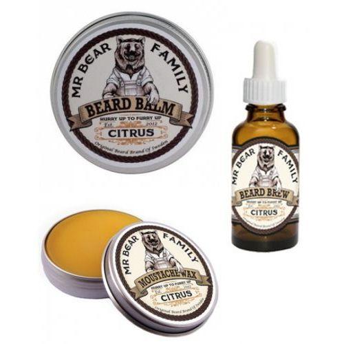 citrus zestaw do brody wąsów wosk balsam olejek wyprodukowany przez Mr bear family
