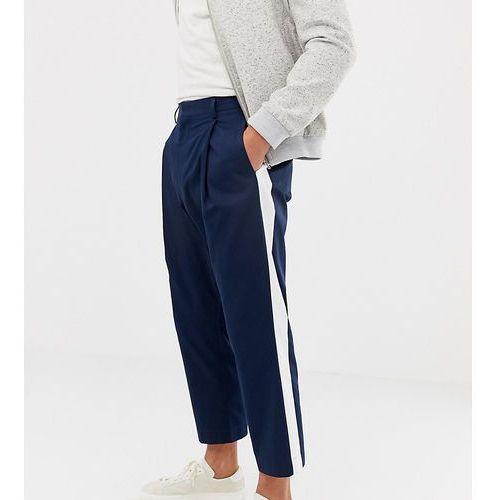Noak wide leg smart trouser in navy with side stripe - Navy, kolor szary