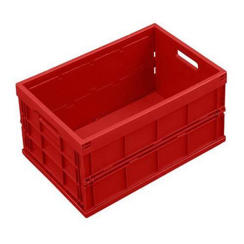 Pojemnik składany z polipropylenu, poj. 40 l, bez pokrywy, czerwony. Z polipropy