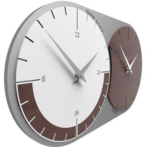 Calleadesign Zegar ścienny - 2 strefy czasowe world clock wenge / biały (12-009-89)
