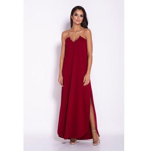 Bordowa elegancka wieczorowa sukienka maxi na łańcuszku, Dursi