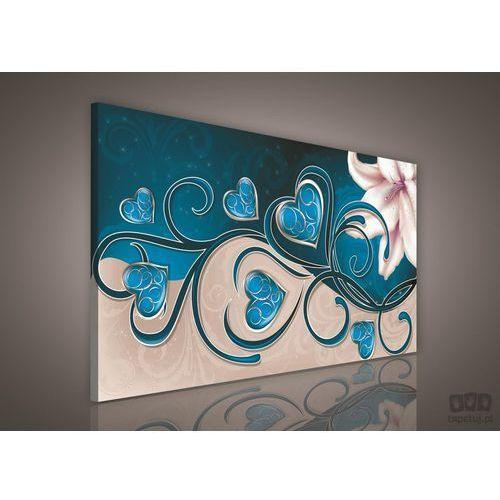 Consalnet Obraz lilia z sercami na niebieskim tle pp301o1