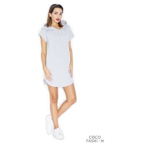 c5f0cce3ba Jasnoszara dresowa sukienka z kapturem
