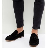 ASOS DESIGN Wide Fit Tassel Loafers In Black Suede With Natural Sole - Black, kolor czarny