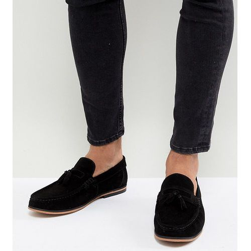 ASOS DESIGN Wide Fit Tassel Loafers In Black Suede With Natural Sole - Black