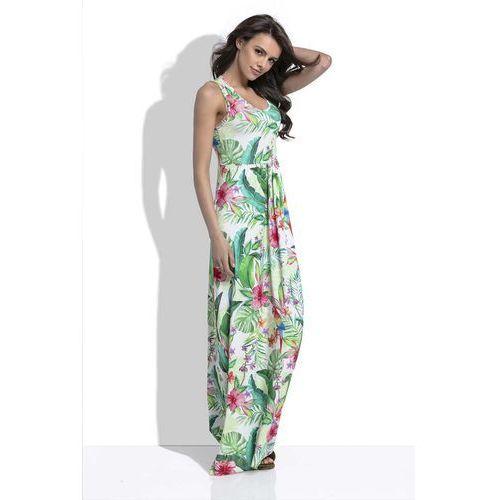 Fobya Biała długa letnia sukienka w tropikalne wzory