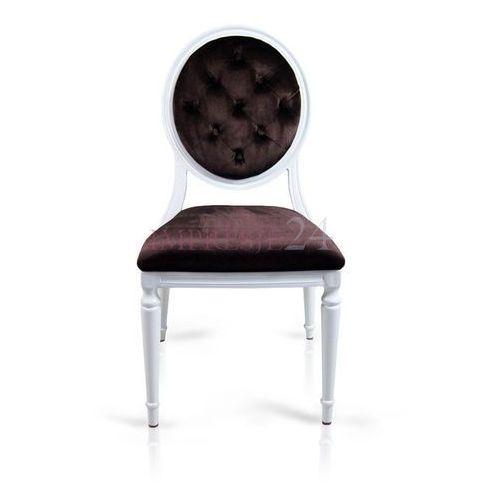 Krzesło Royal, obicie brązowy welur, biała, aluminiowa rama.