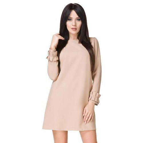 a32c73124d Beżowa sukienka z falbanką przy rękawie