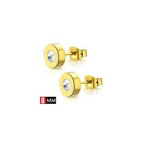 Kolczyki Okrągłe z kamieniem, ze stali nierdzewnej w kolorze złotym, stal 316L, ERR870