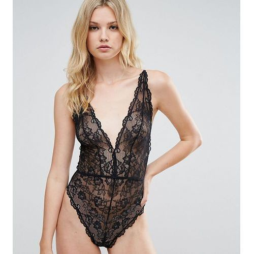 blair high leg lace body with lace up back - black marki Asos tall